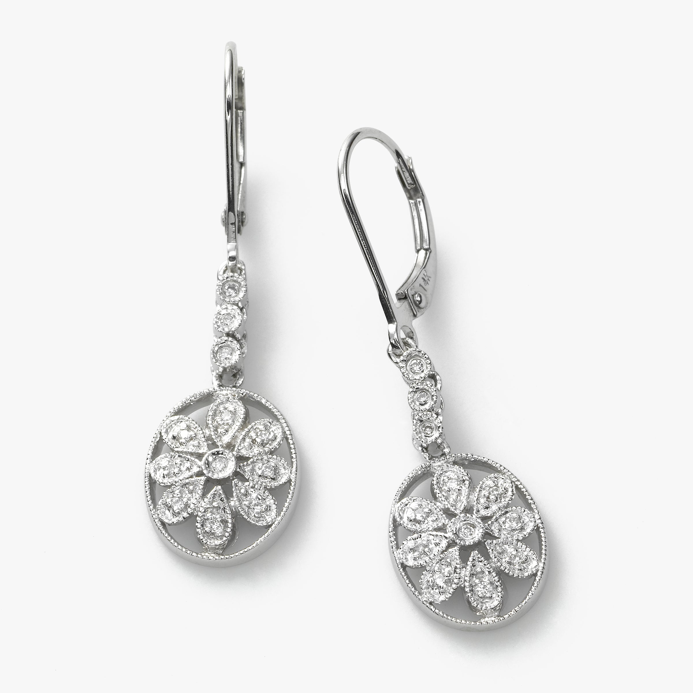 Oval Floral Design Diamond Earring, 14K White Gold
