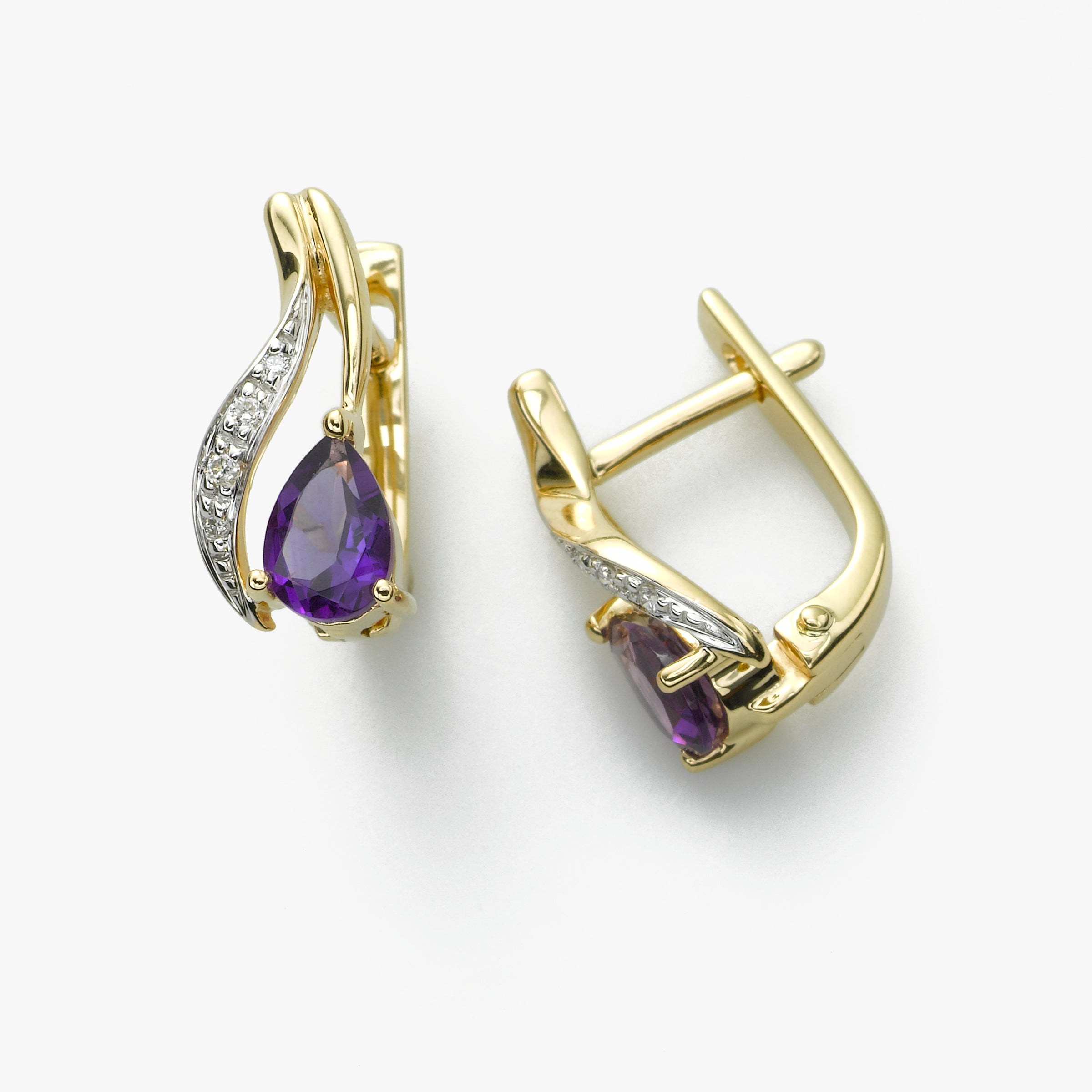 Amethyst and Diamond Earring, 14K Yellow Gold