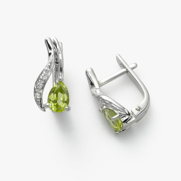 Peridot and Diamond Earring, 14K WG