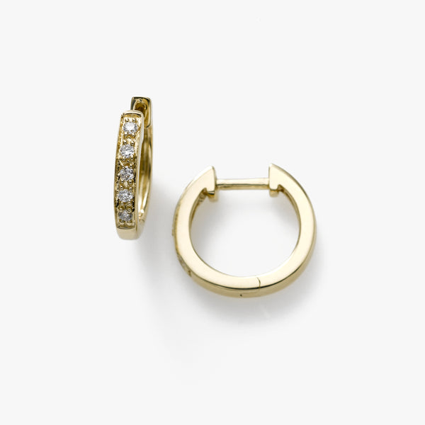 Mini Hoops, Diamonds .10 Carat, 14K Yellow Gold