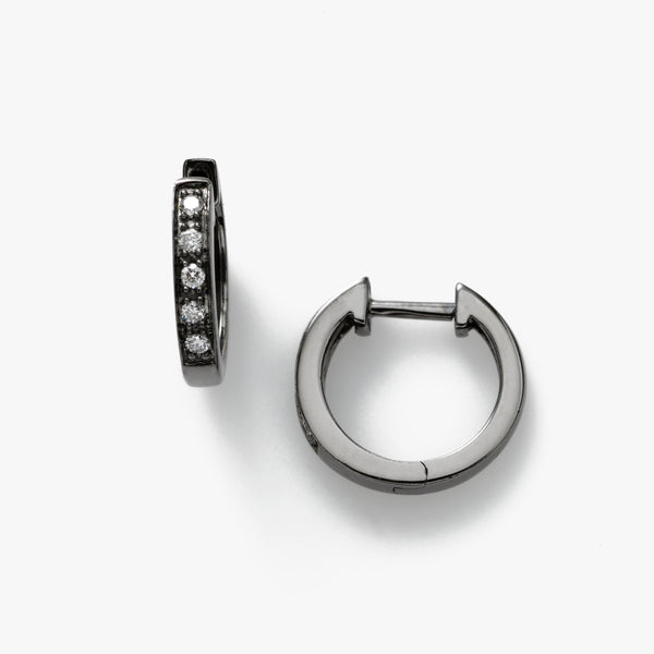 Mini Hoops, Diamonds .10 Carat, 14K Gold, Black Rhodium