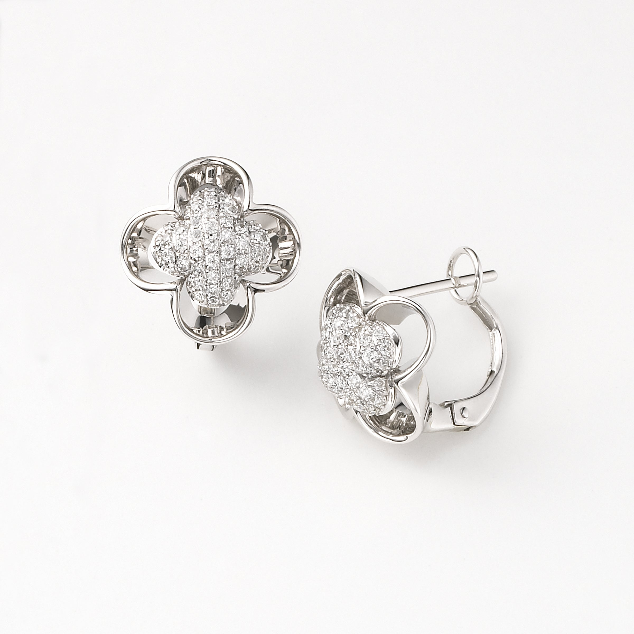 Diamond Flower Earrings, .36 Carat, 14K White Gold