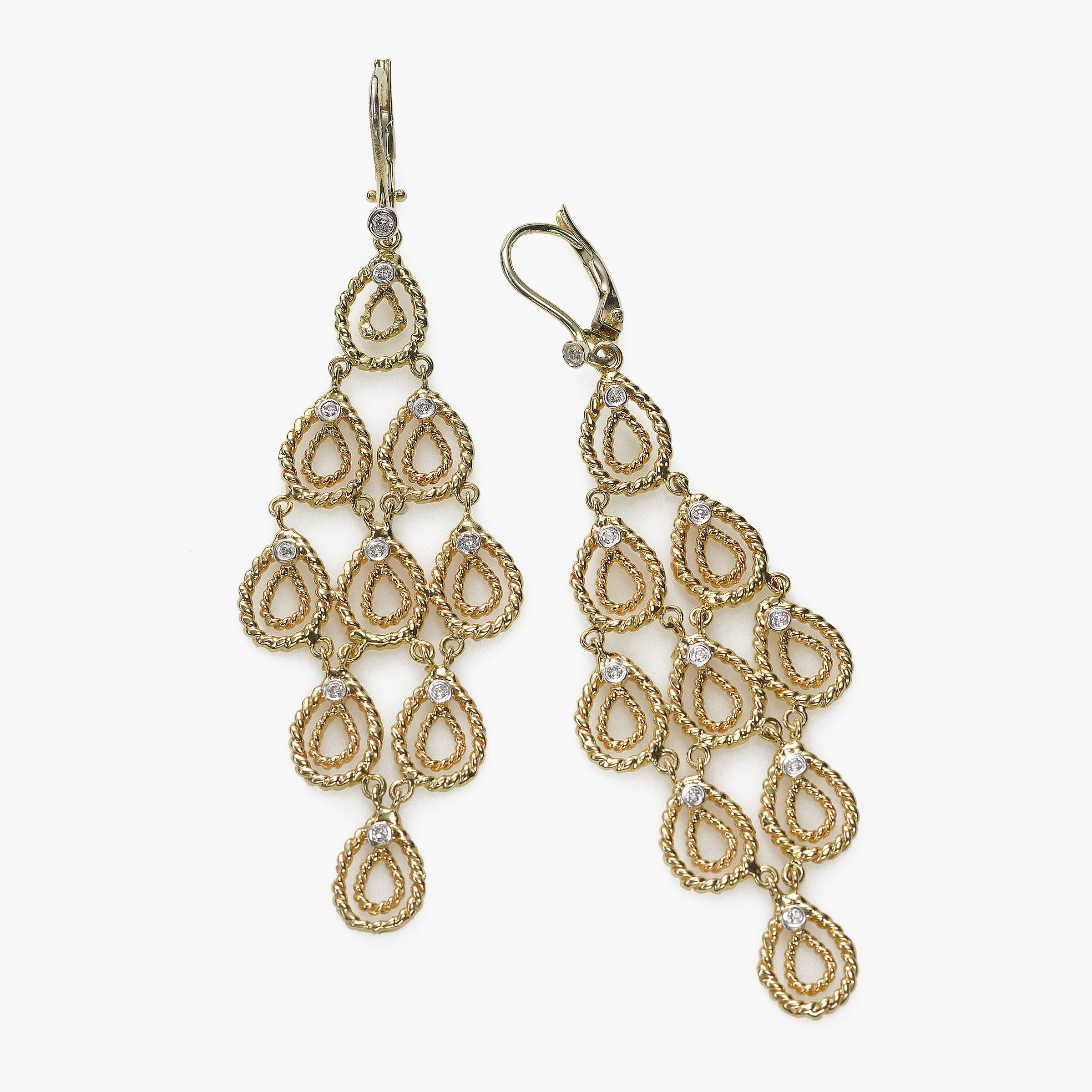 Gold Silhouette Chandelier Earrings, Diamond Accent, 3 Inches, 14K Yellow Gold