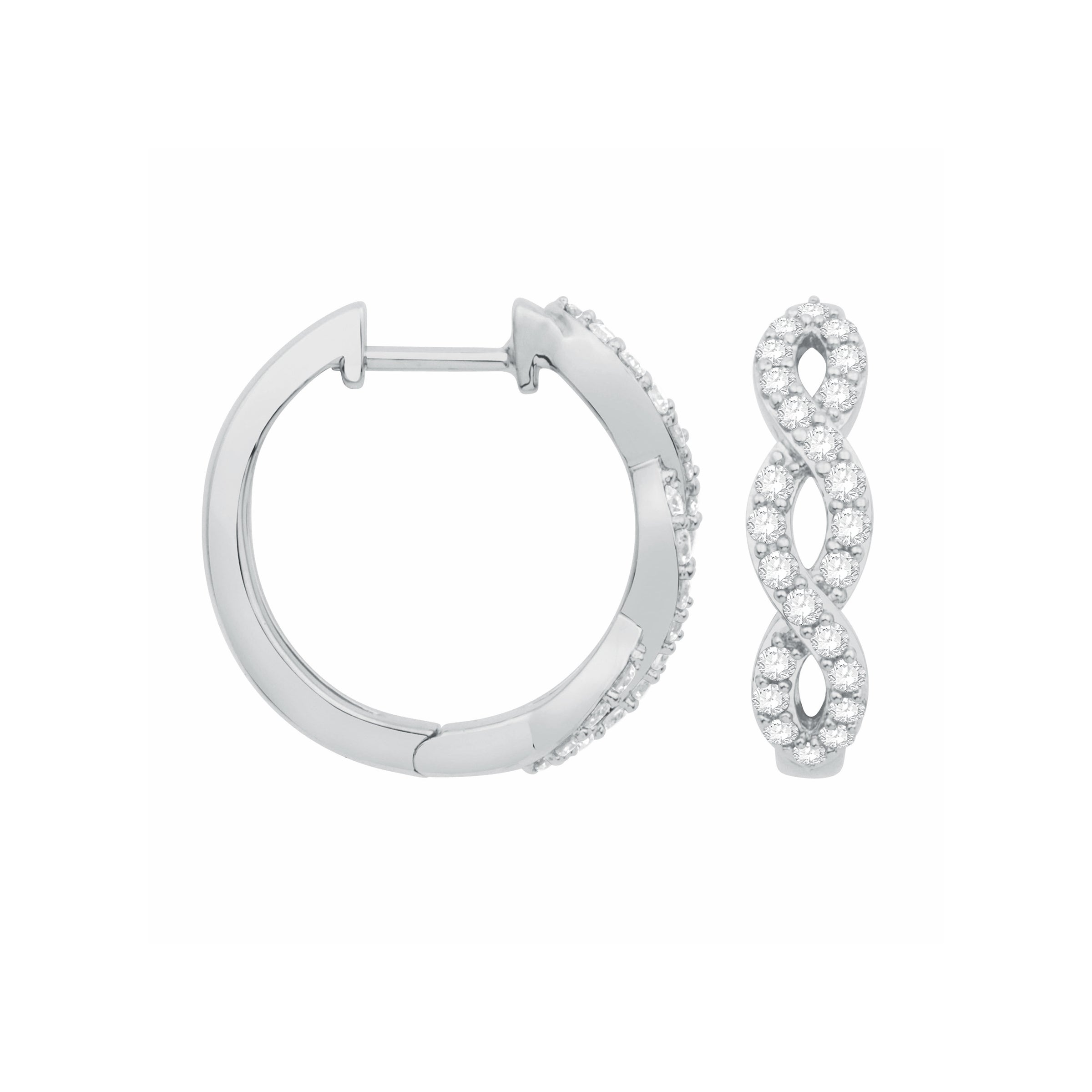 Intertwining Diamond Hoop Earrings, 14K White Gold