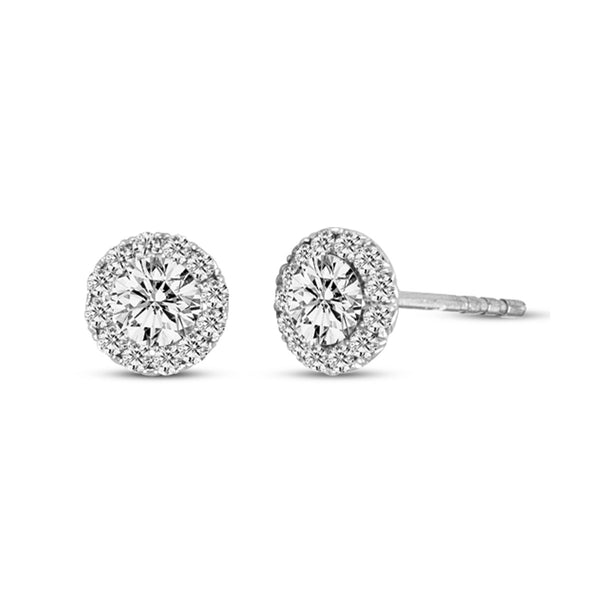Diamond Stud with Halo Earrings, 14K White Gold