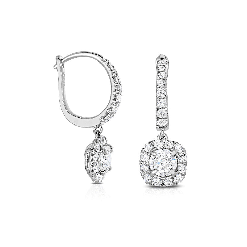 Diamond Halo Dangle Earrings, 14K White Gold