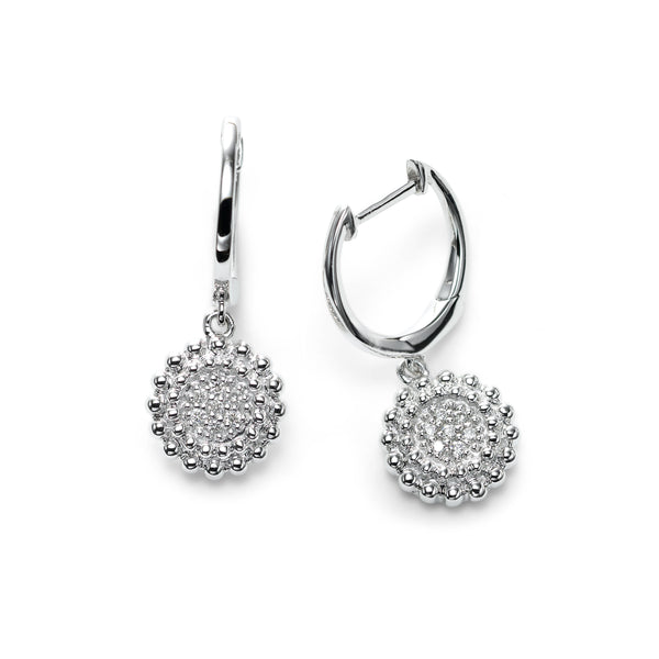 Round Pave Diamond Cluster Dangle Hoops, 14K White Gold