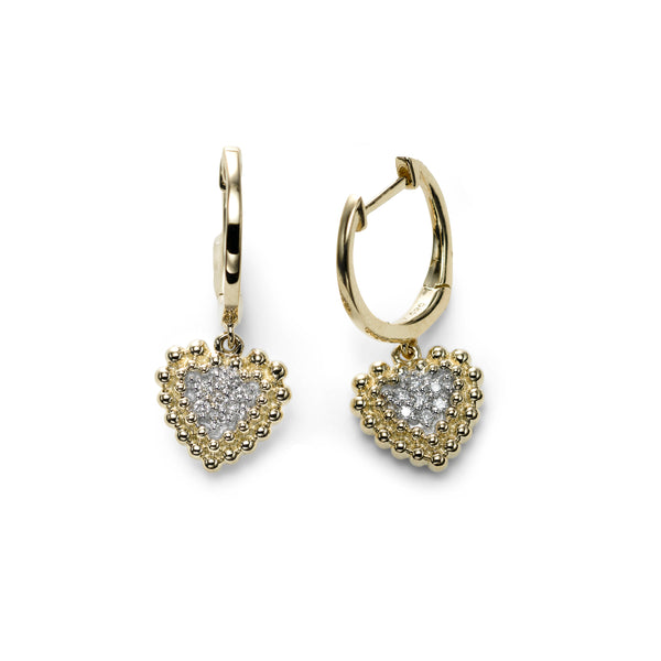 Pavé Diamond Heart Dangle Hoops, 14K Yellow Gold