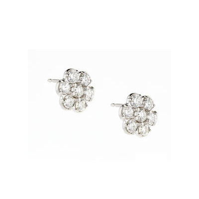 Diamond Flower Shape Cluster Earrings, 14K White Gold