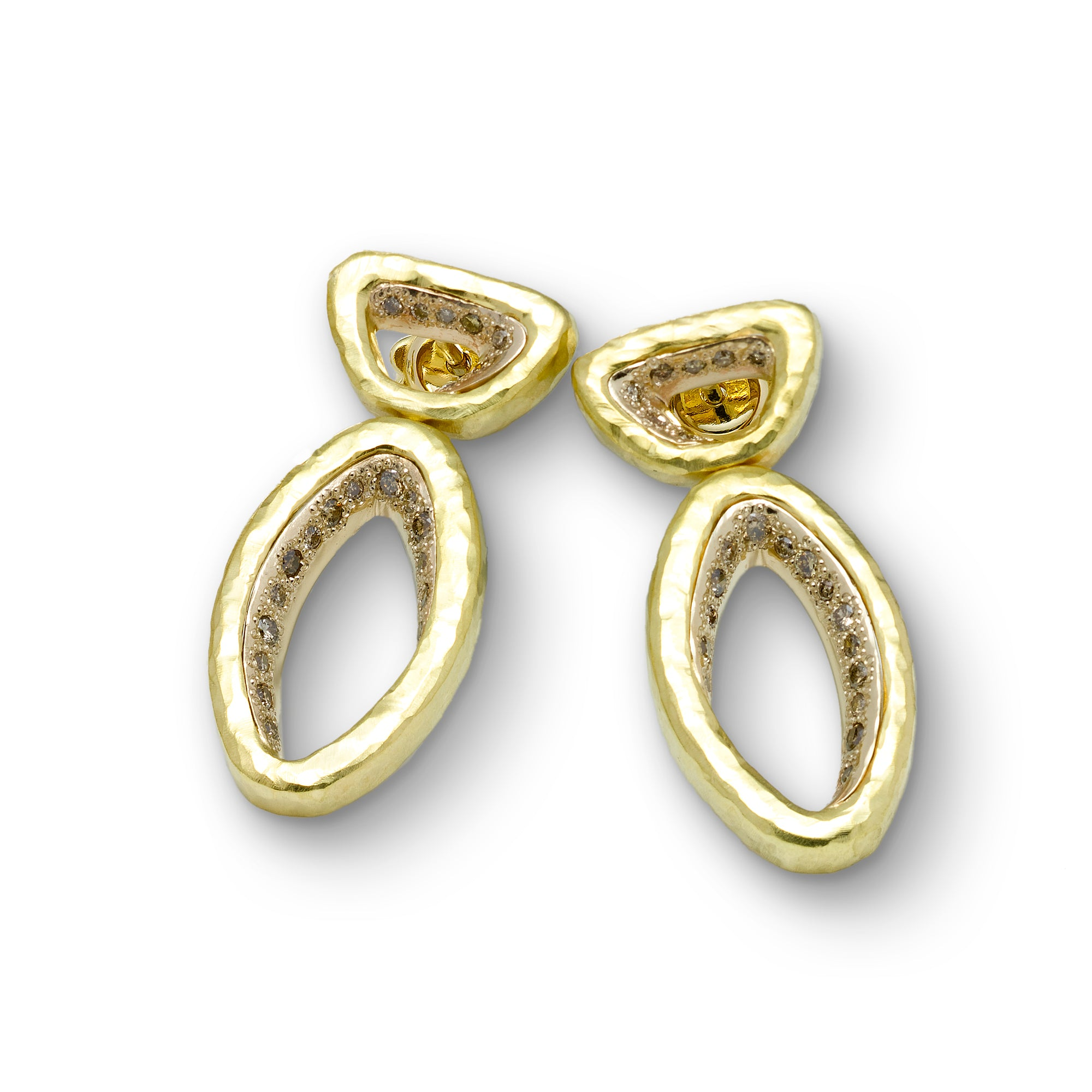 Bold Gold Earrings with Diamonds, 18K Yellow Gold