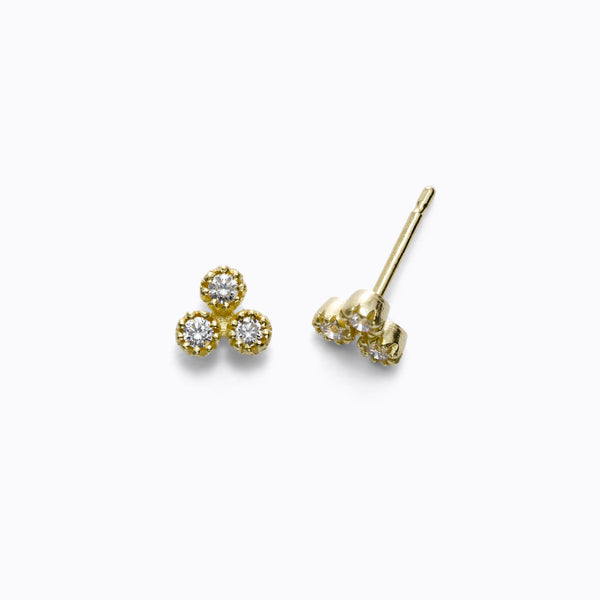 Triple Diamond Cluster Stud Earrings, 14K Yellow Gold