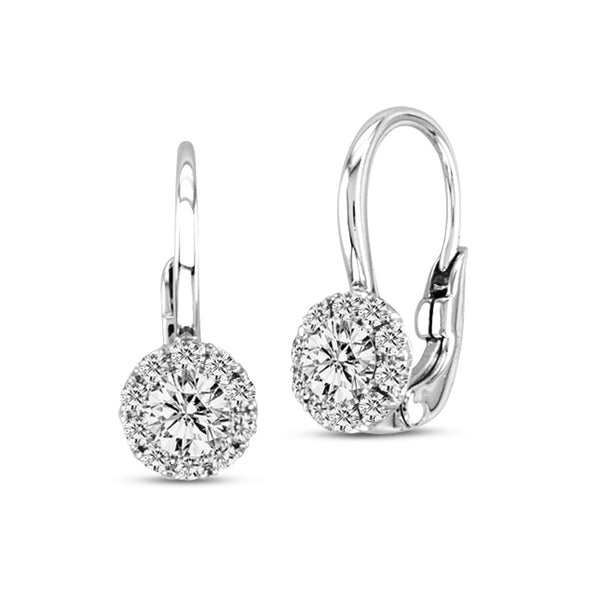 Diamond With Halo on Euro Wire Earrings, 14K White Gold
