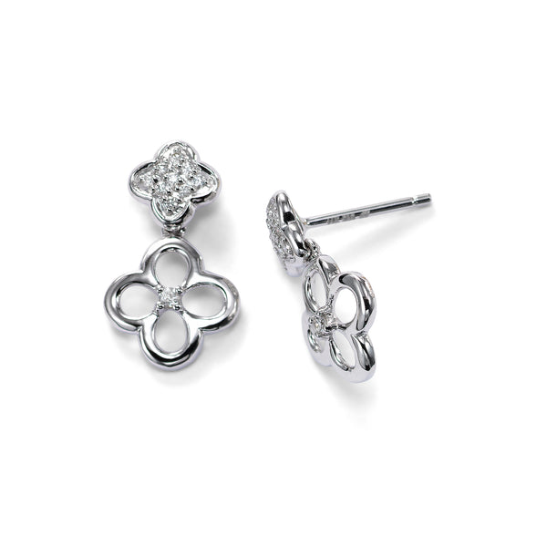 Double Dangle Earrings with Pave Diamonds, 14K White Gold