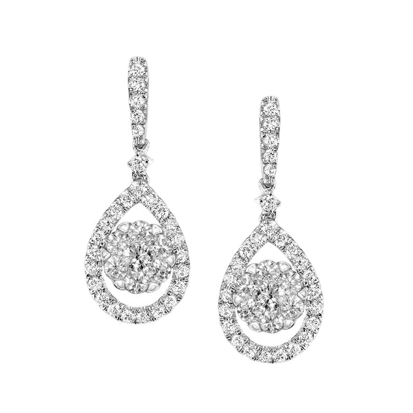 Pear Shape Diamond Dangle Earrings, 14K White Gold