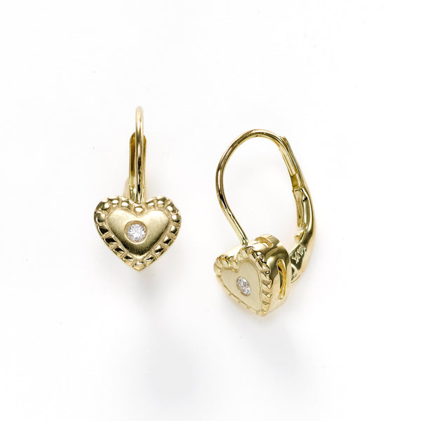 Heart Leverback Earrings, 14K Yellow Gold