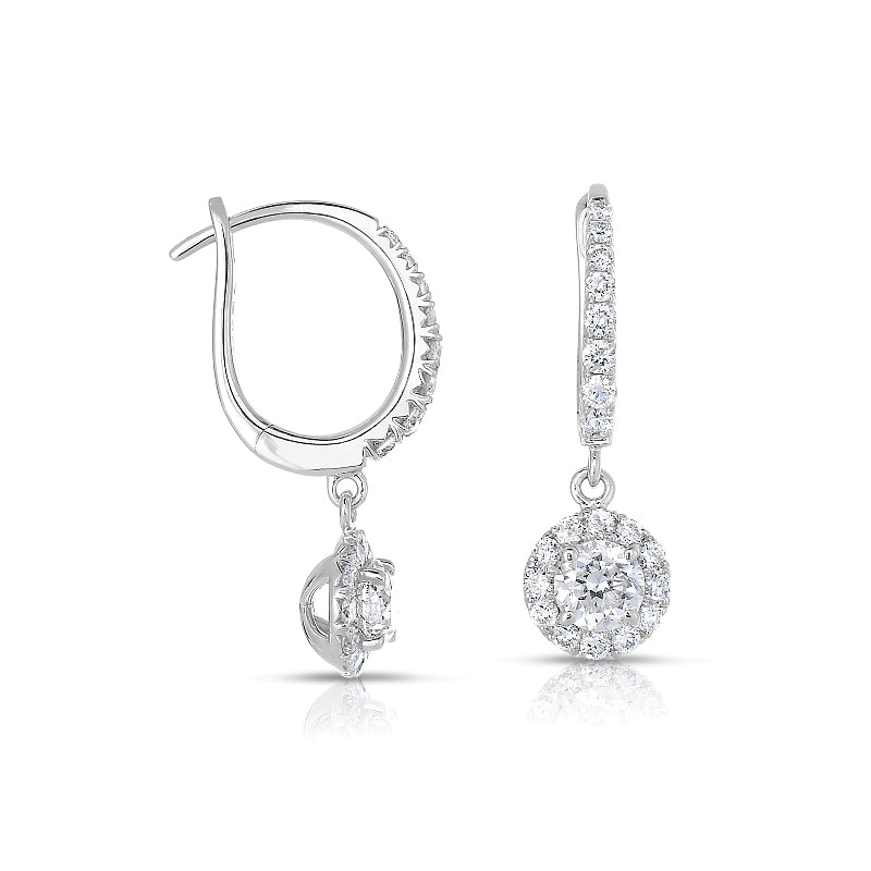 Round Diamond Drop with Halo Earrings, 14K White Gold