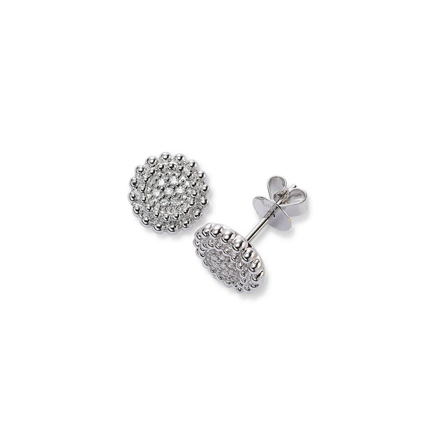 Small Pave Diamond Cluster Stud Earrings, 14K White Gold