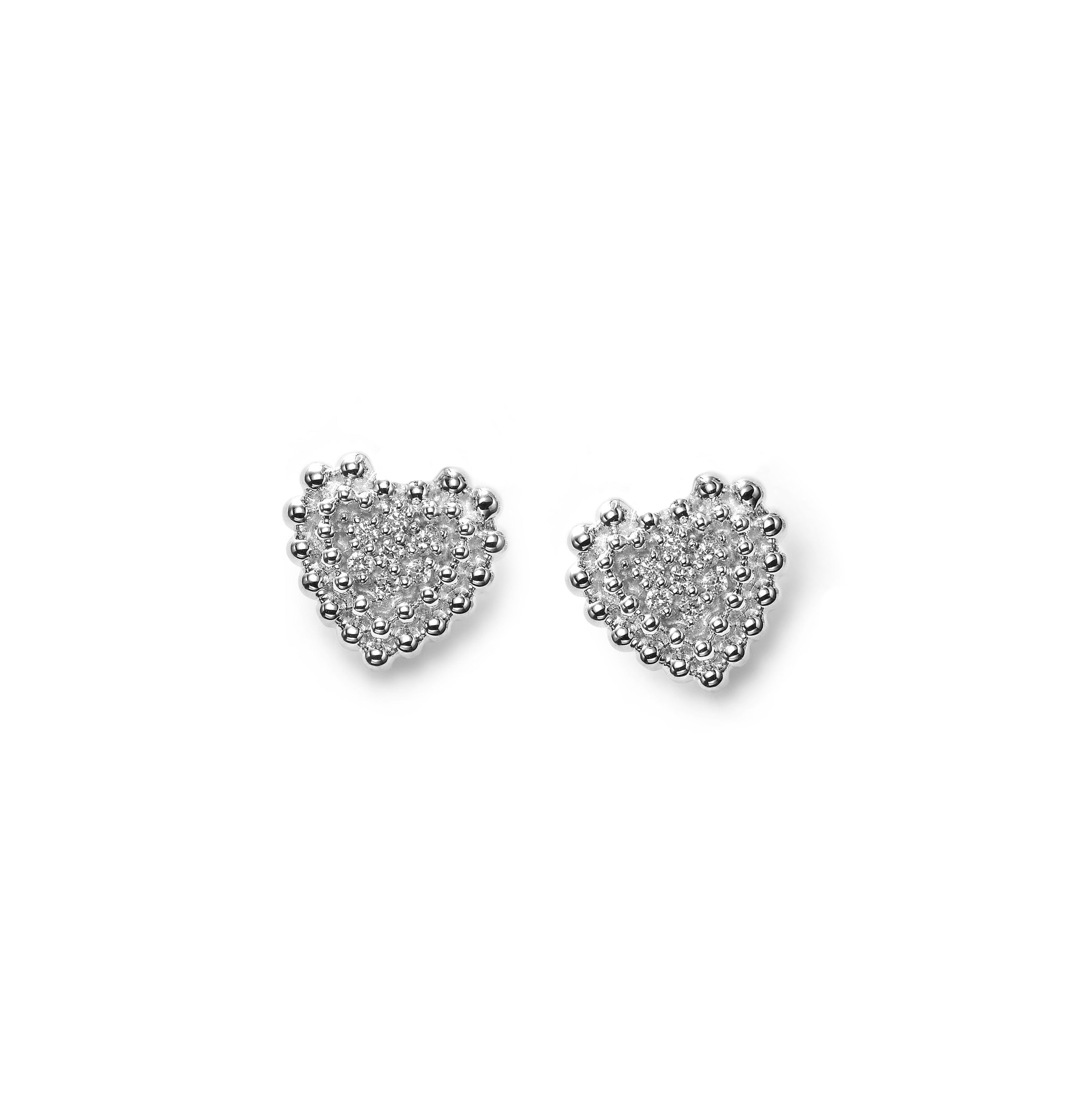 Pavé Diamond Heart Stud Earrings, 14K White Gold