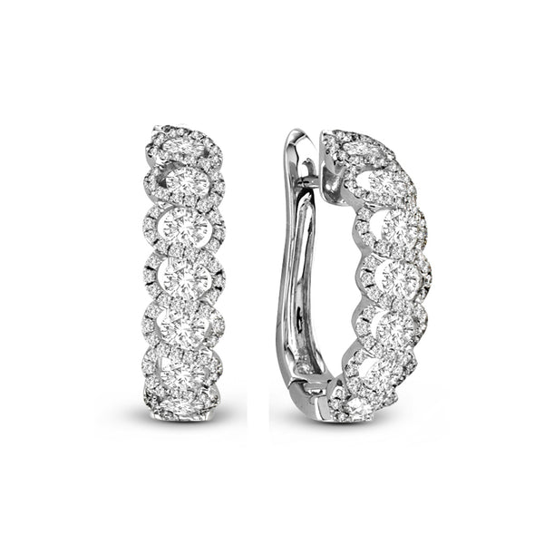 Pavé Diamond 'J' Hoop Earrings, 14K White Gold