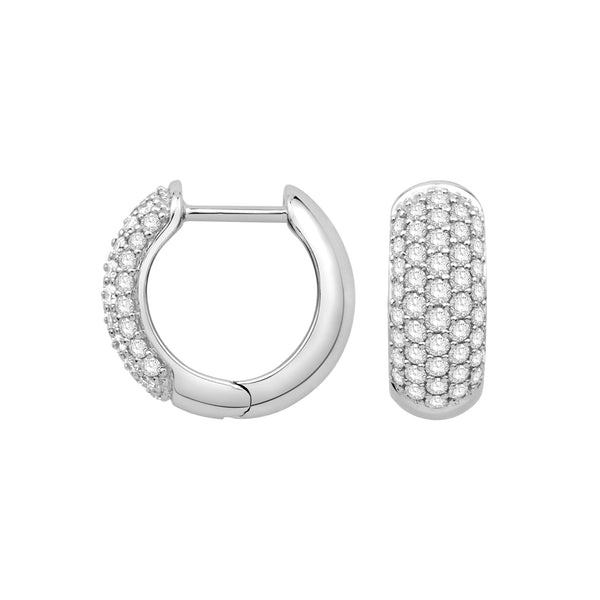 Pave Set Diamond Hoop Earrings, 14K White Gold