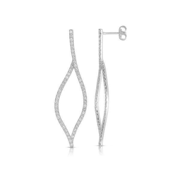 Open Leaf Diamond Drop Earrings, 14K White Gold