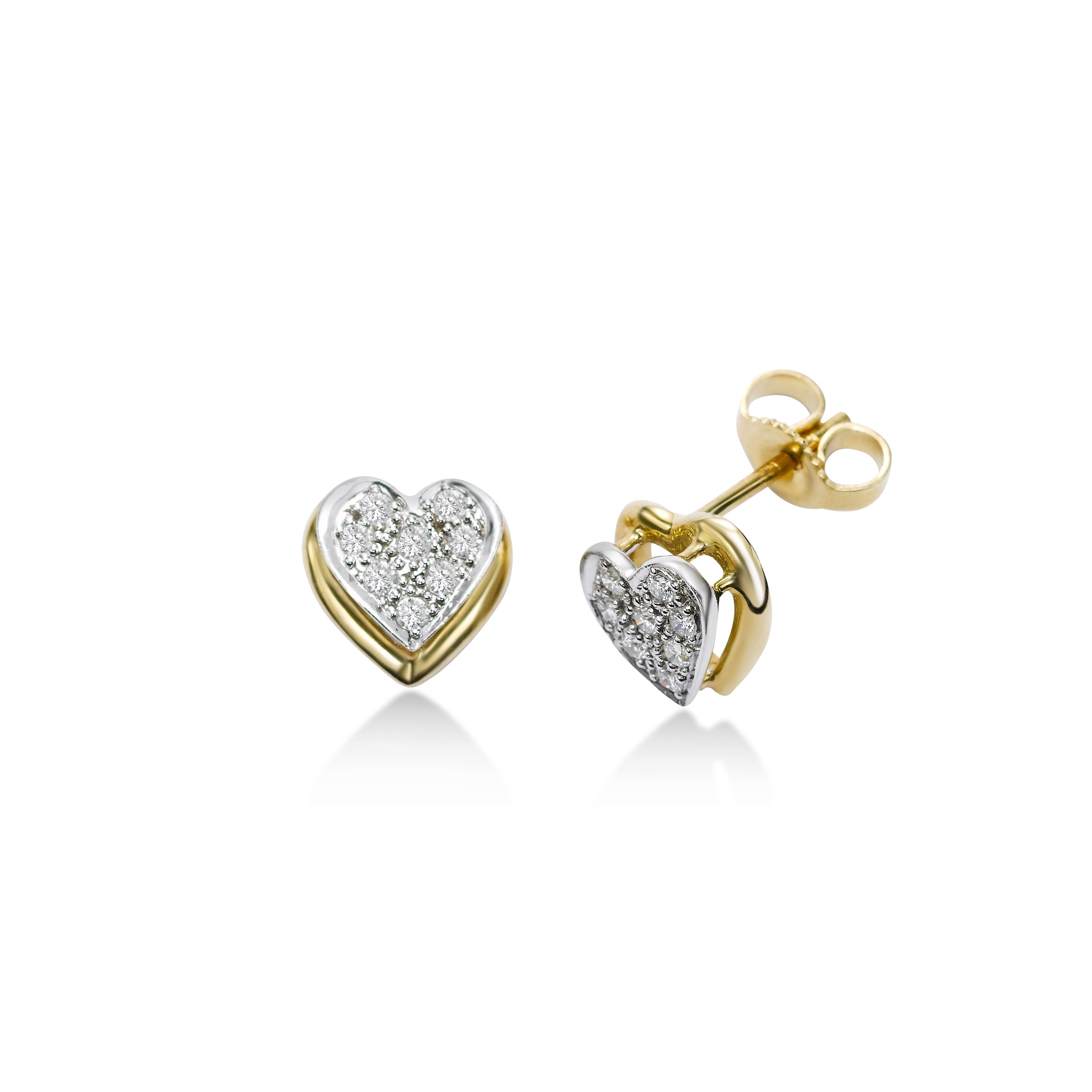 Pavé Diamond Floating Heart Stud Earrings, 14 Karat Gold