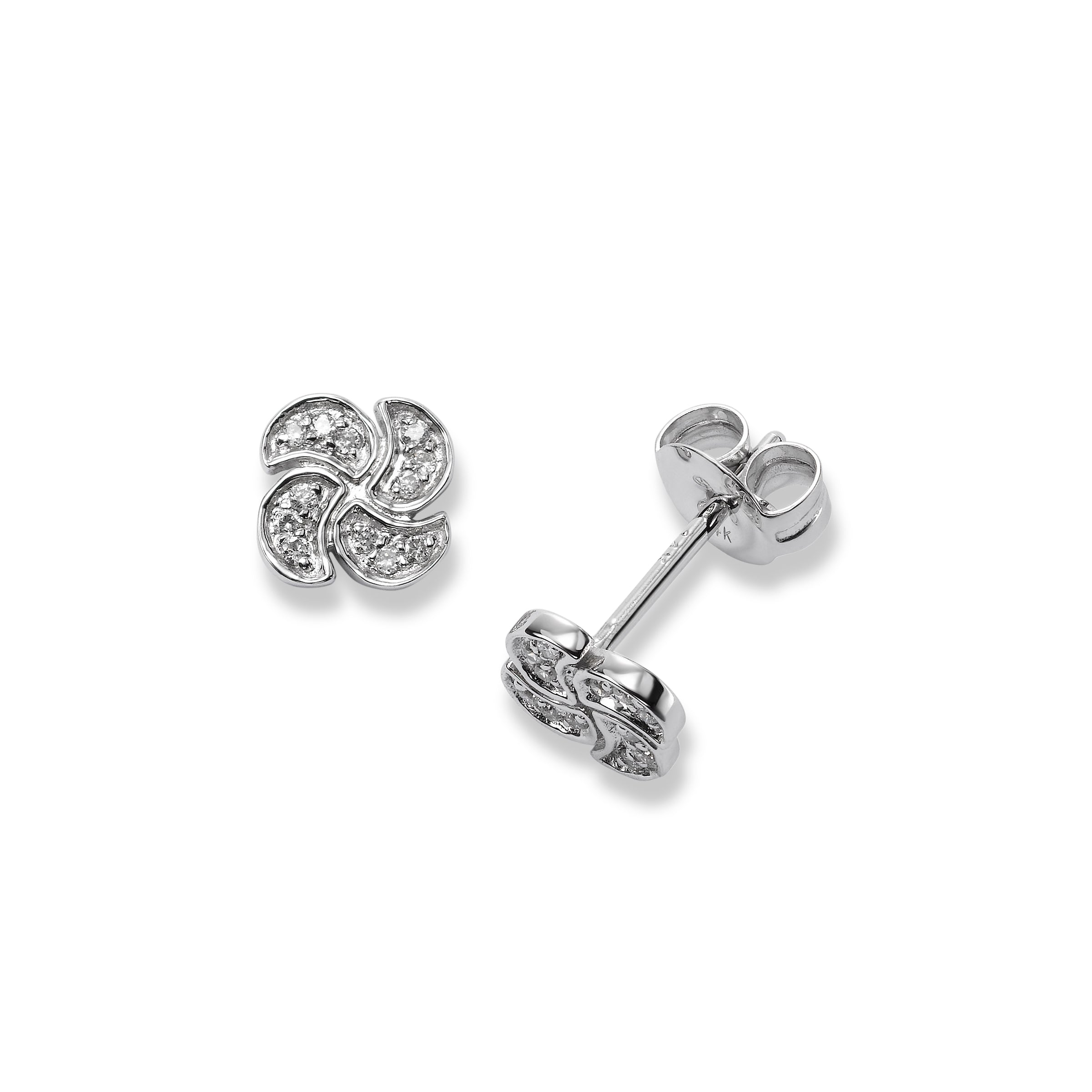 Small Pavé Diamond Swirl Earrings, 14K White Gold