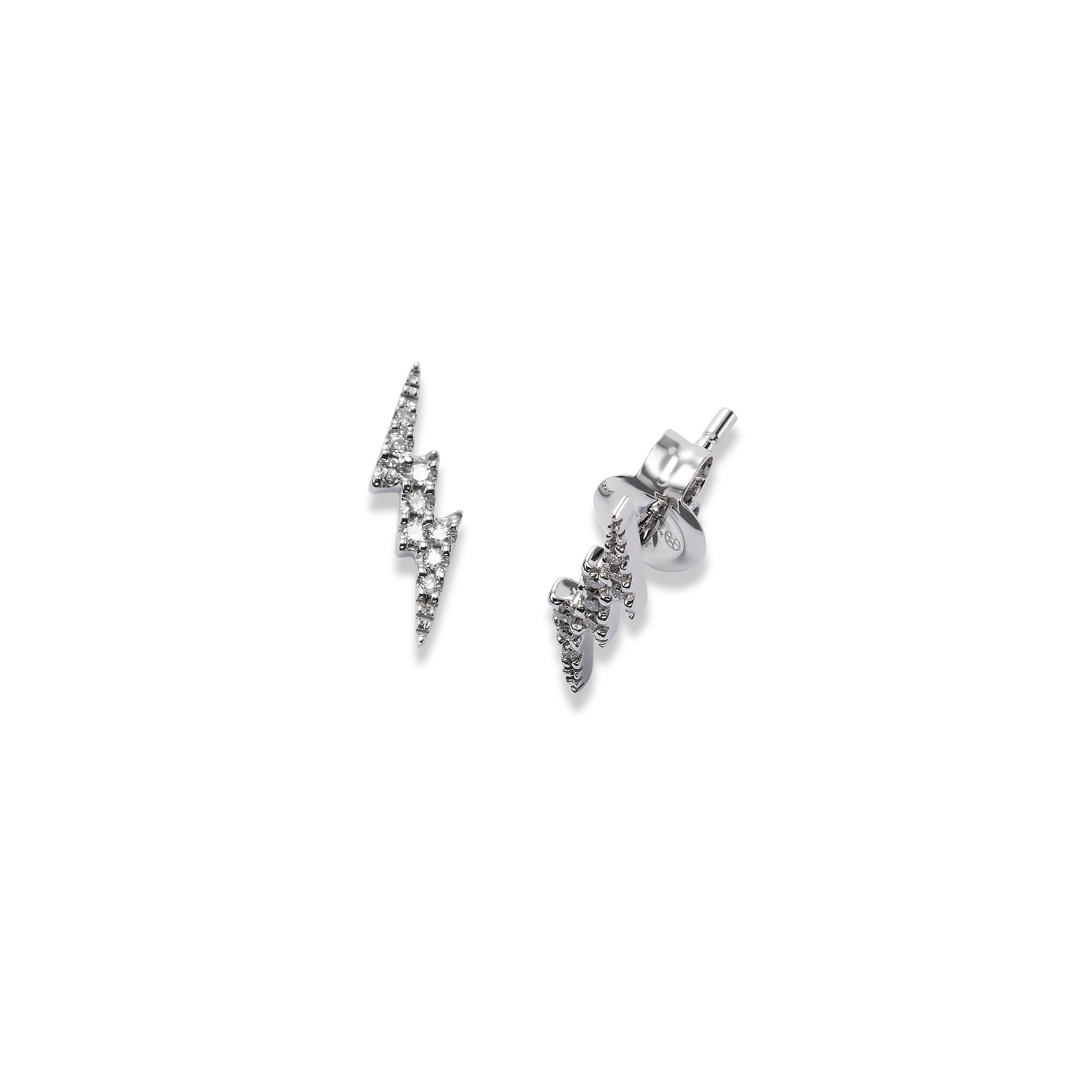 Small Pavé Diamond Lightning Earrings, 14K White Gold