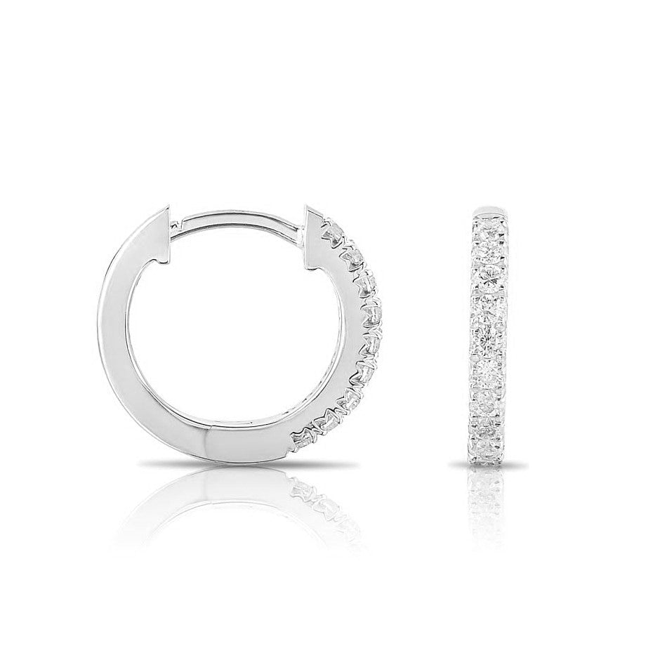 Single Row Diamond Hoop Earrings, 1.50 Carats, 14K White Gold