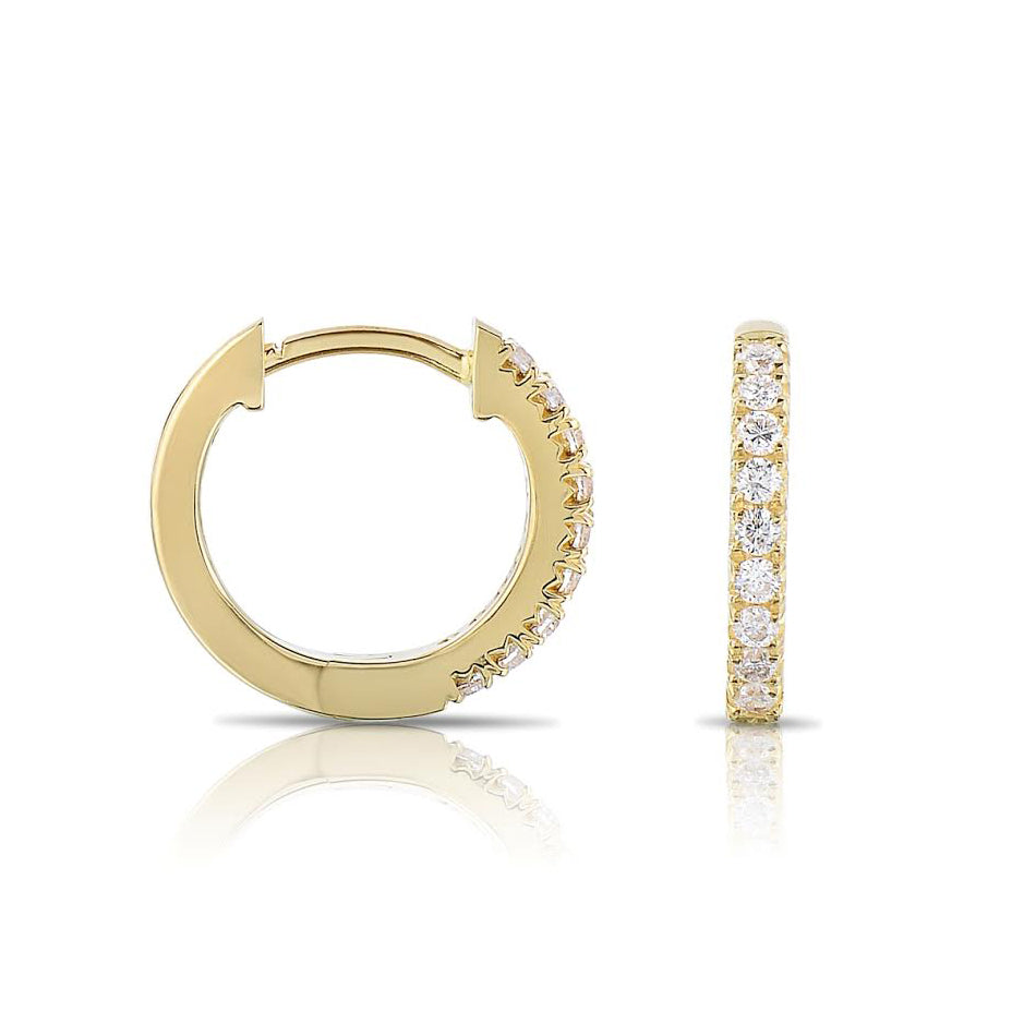 Single Row Diamond Hoop Earrings, 1.50 Carats, 14K Yellow Gold