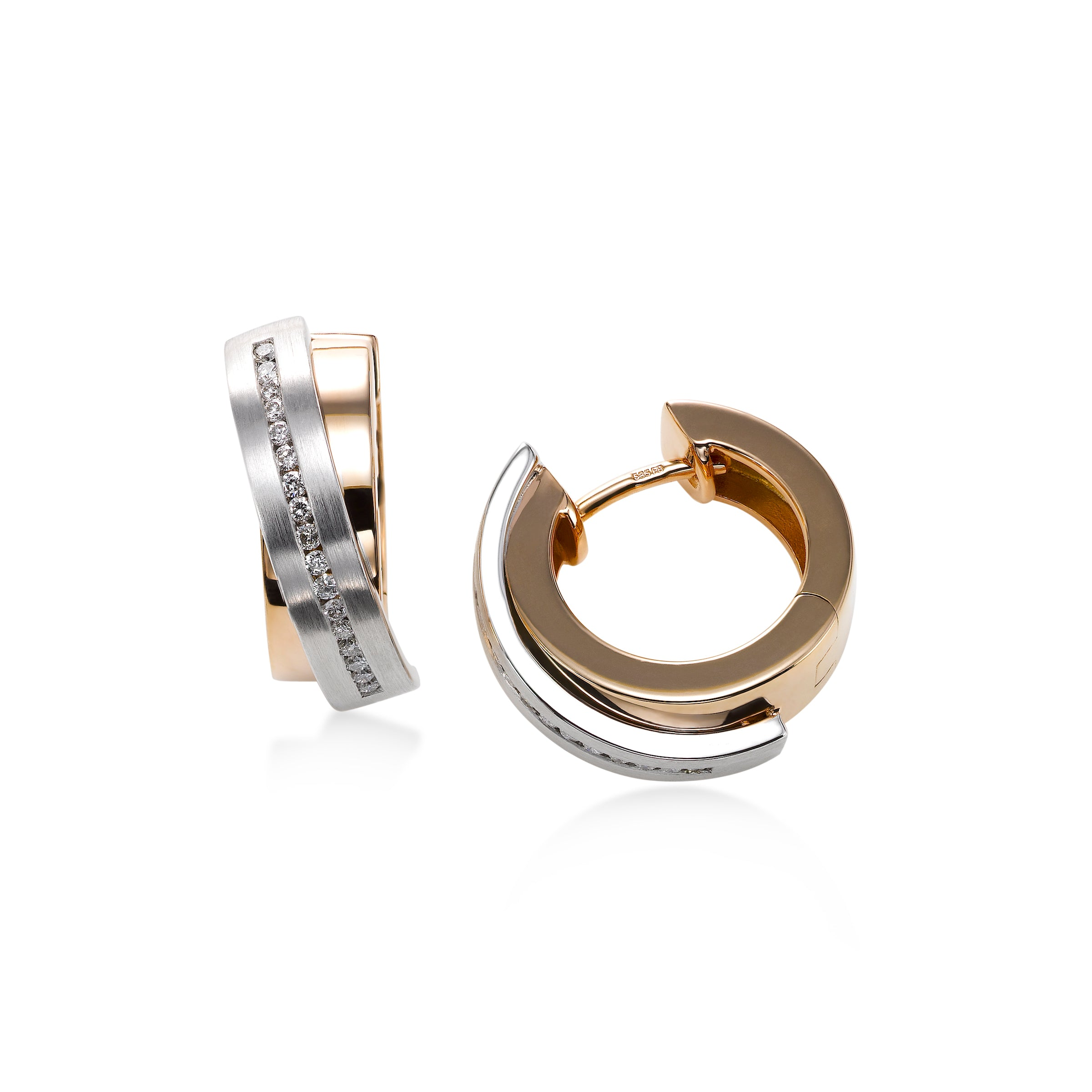 Two Tone Huggie Hoop Earrings with Diamonds, 14K Gold