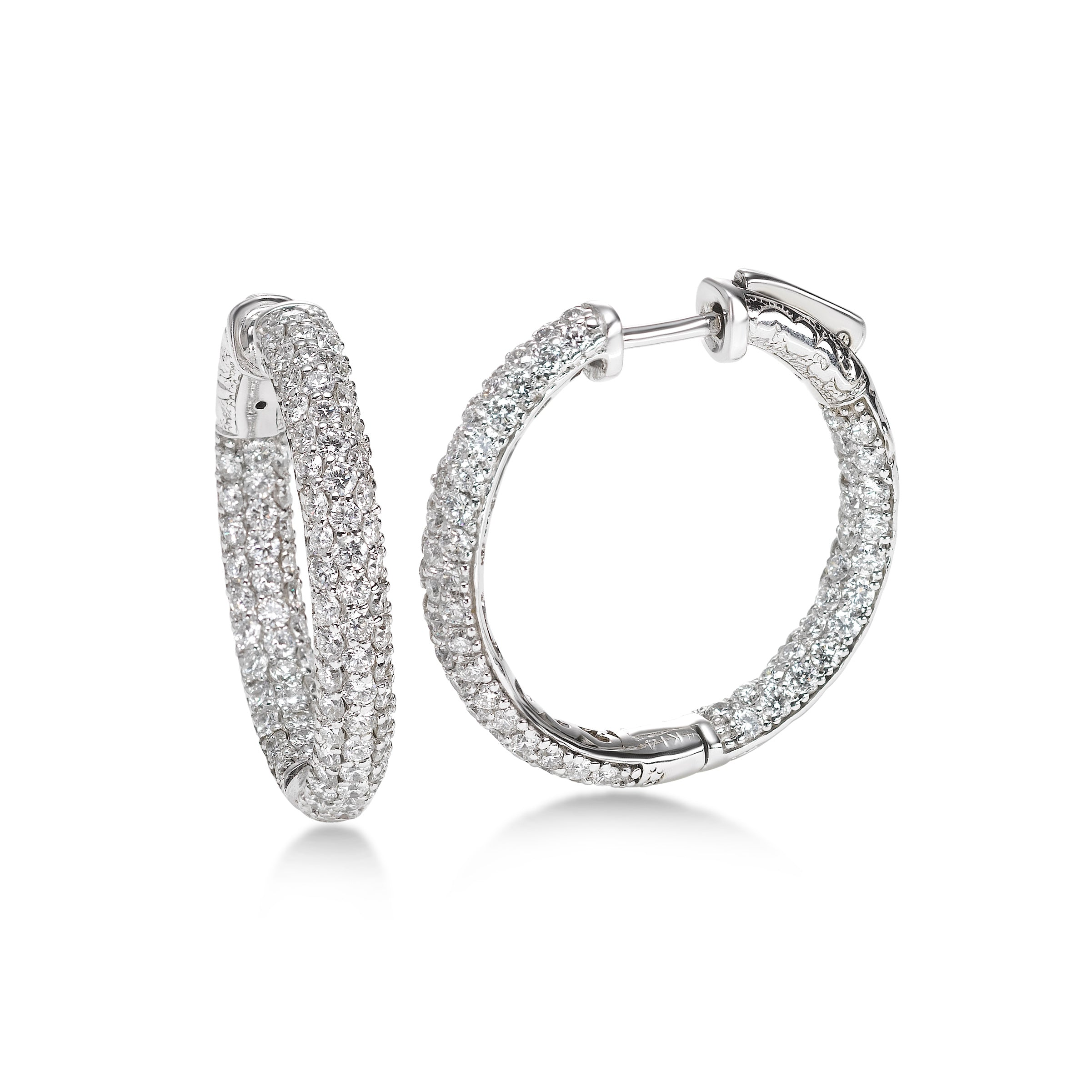 Inside Out Pavé Diamond Hoops, 1 Inch, 14K White Gold