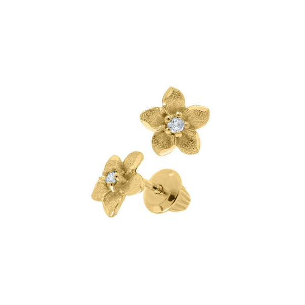 Child's Flower Earrings with Diamond Accent, 14K Yellow Gold