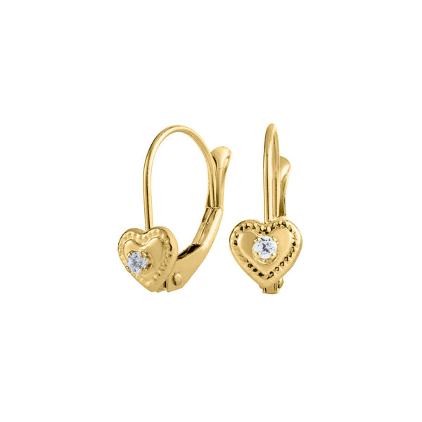 Child's Heart Leverback Earrings, 14K Yellow Gold