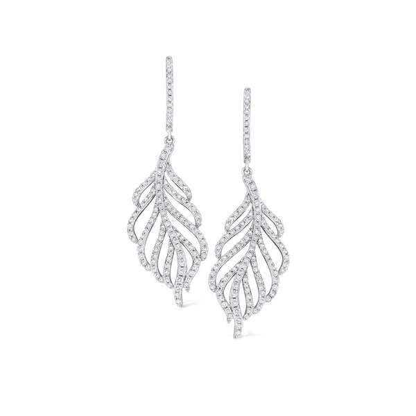 Diamond Feather Dangle Earrings, 14K White Gold