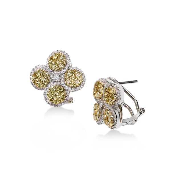 Yellow Diamond Flower Earrings, 18K White Gold