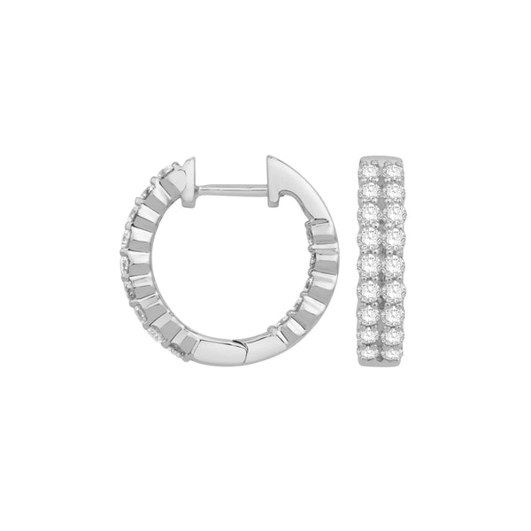Double Row Inside Out Diamond Hoops, 1.80 Carats, 14K White Gold