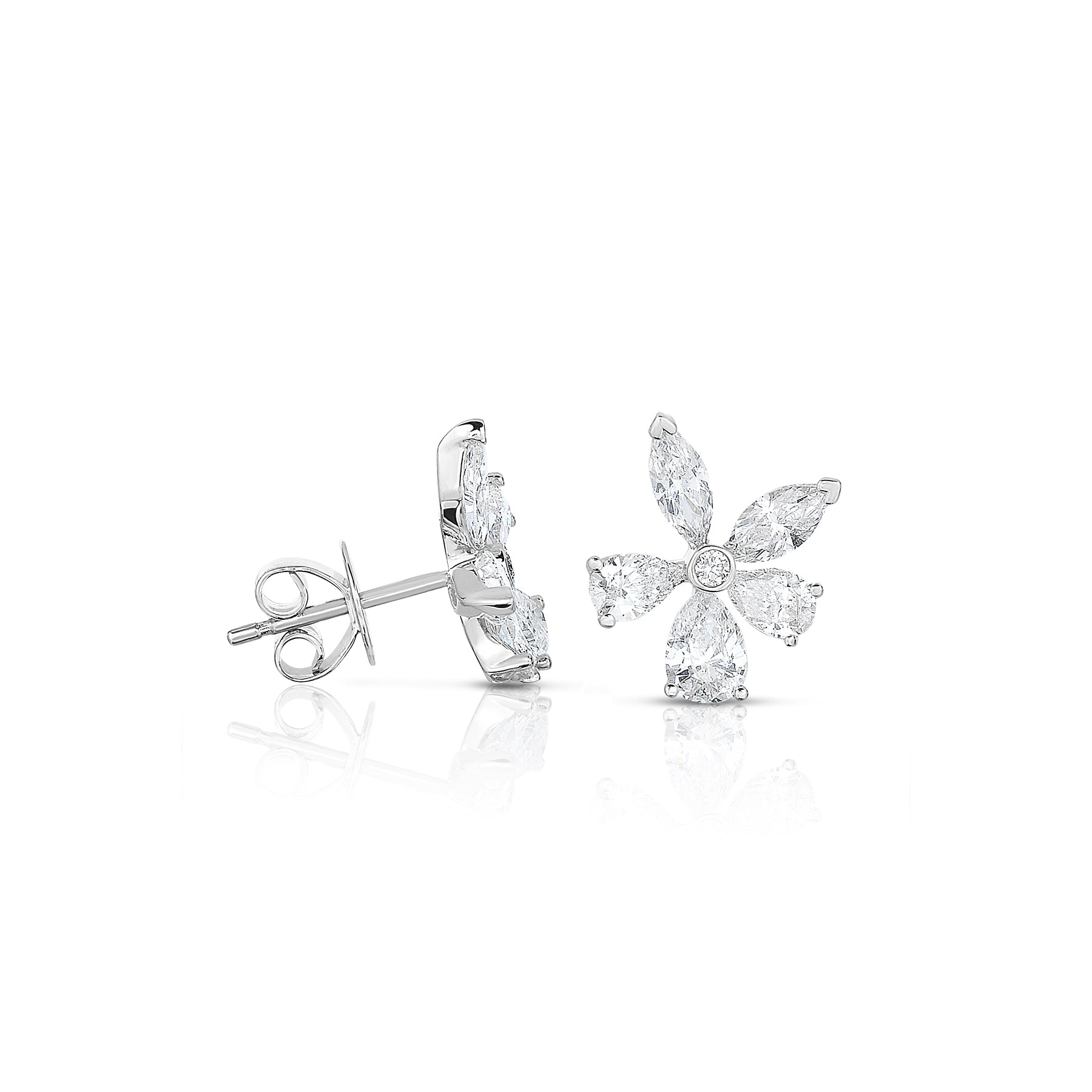 Diamond Flower Stud Earrings, 2 Carats, 14K White Gold