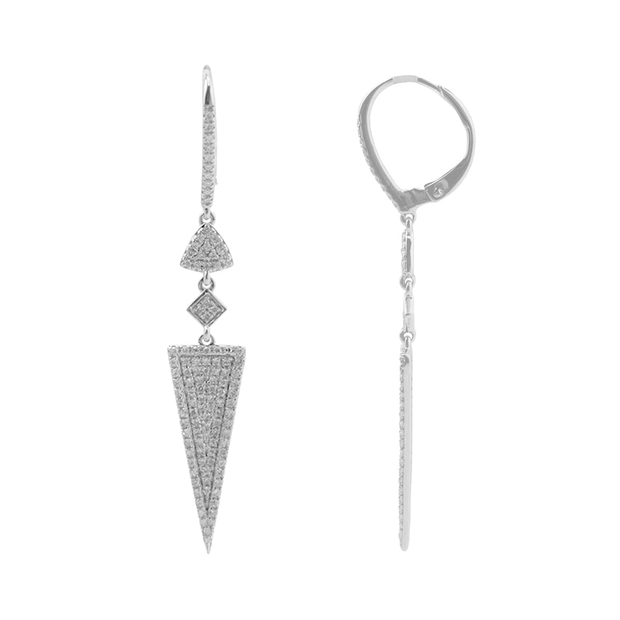Geometric Pavé Diamond Dangle Earrings, 14K White Gold
