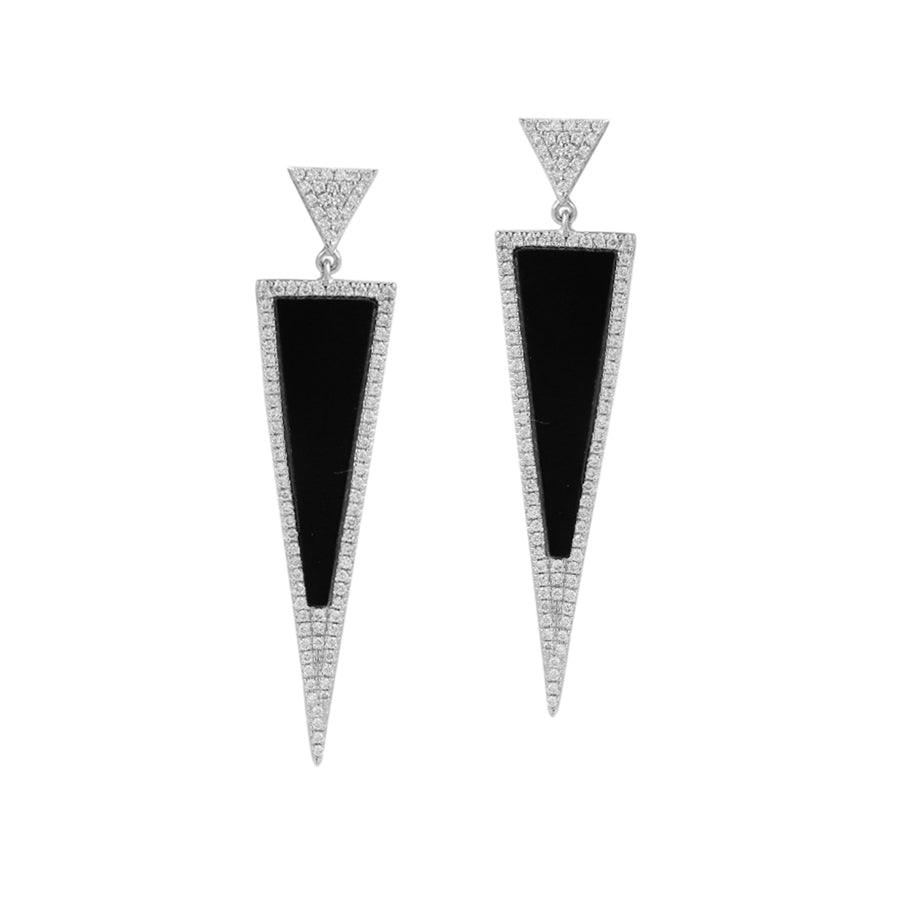 Triangle Black Agate and Diamond Drop Earrings, 14K White Gold