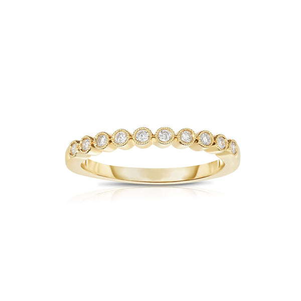 Halfway Bezel Set Diamond Band, 14K Yellow Gold
