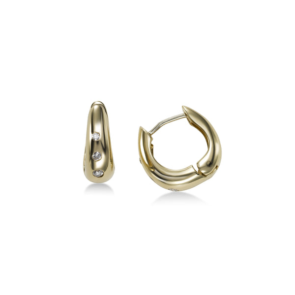 Flush Set Diamond Huggie Hoop Earrings, 14K Yellow Gold
