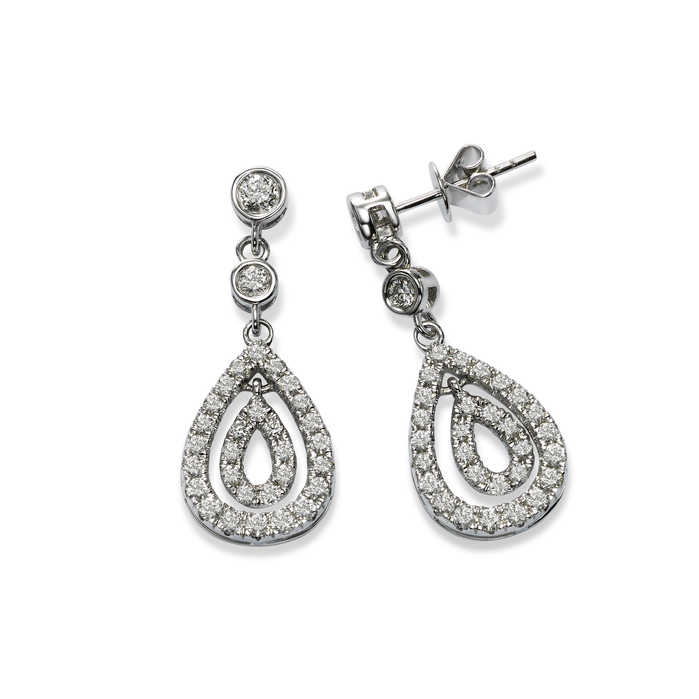 Pear Shape Nested Diamond Dangle Earrings, 14K White Gold