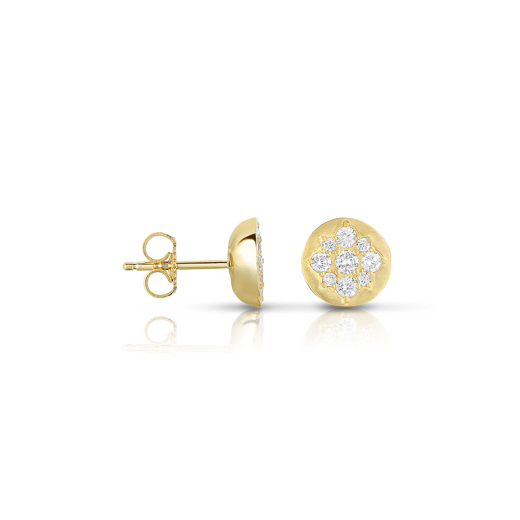 Matte Finish Diamond Design Stud Earrings, 14K Yellow Gold