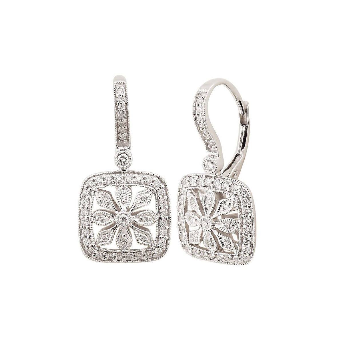 Framed Flower Diamond Drop Earrings, 14K White Gold