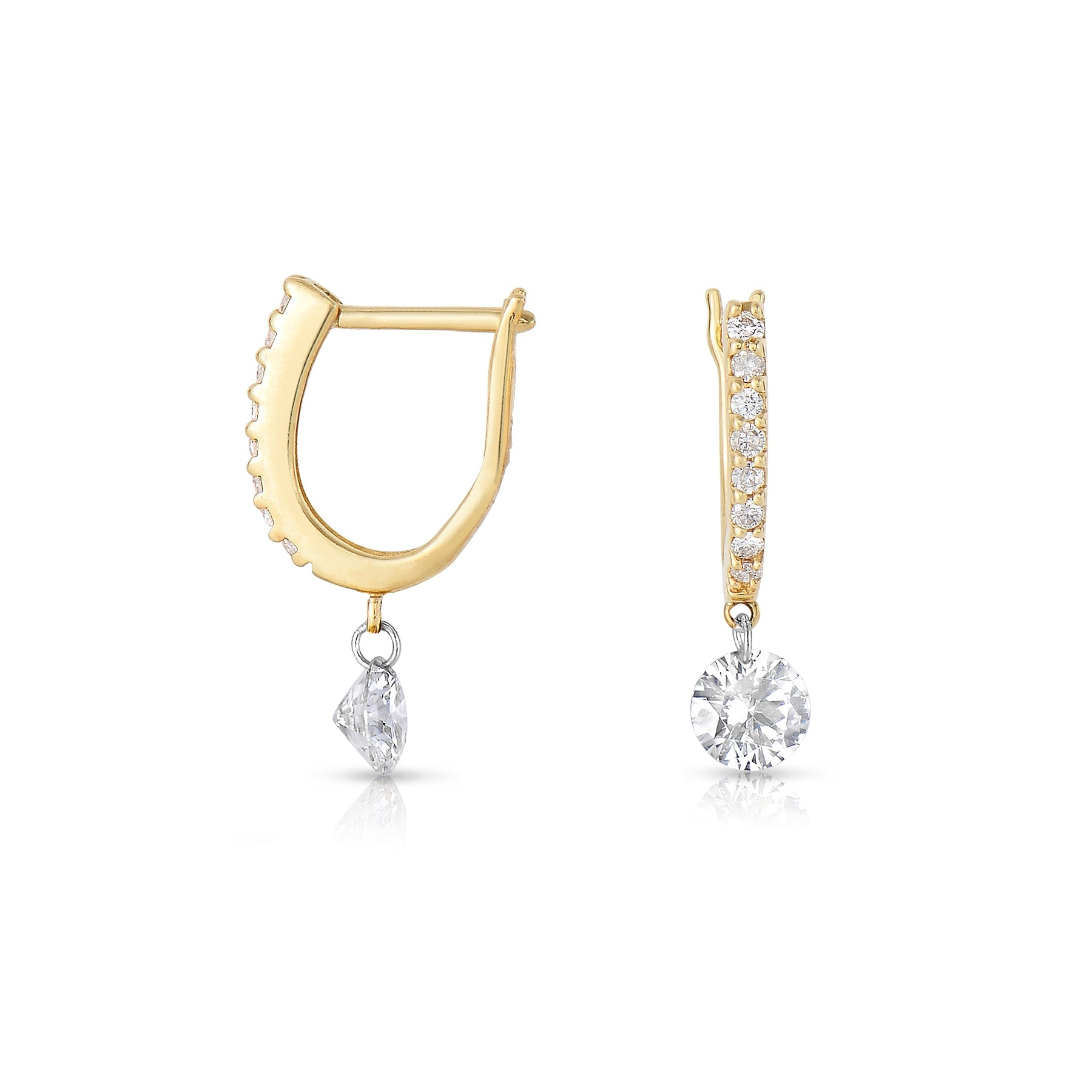 Round Diamond Drop Earrings, 14K Yellow Gold