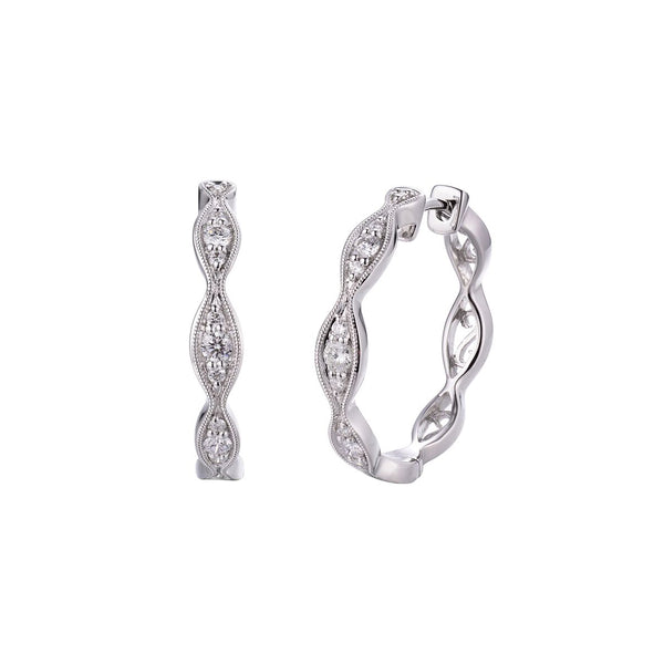 Scalloped Diamond Hoop Earrings, .80 Inch, 14K White Gold