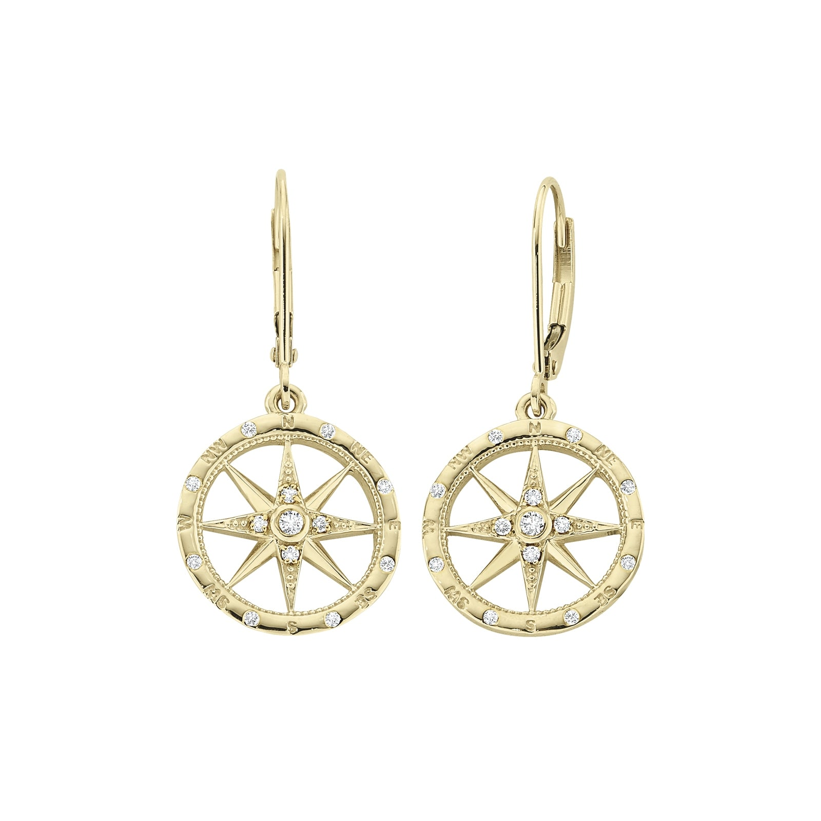Diamond Compass Rose Earrings, 14K Yellow Gold