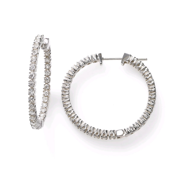 In-and-Out Diamond Hoops, 1.15 Inches, 1.73 Carats, 14K White Gold