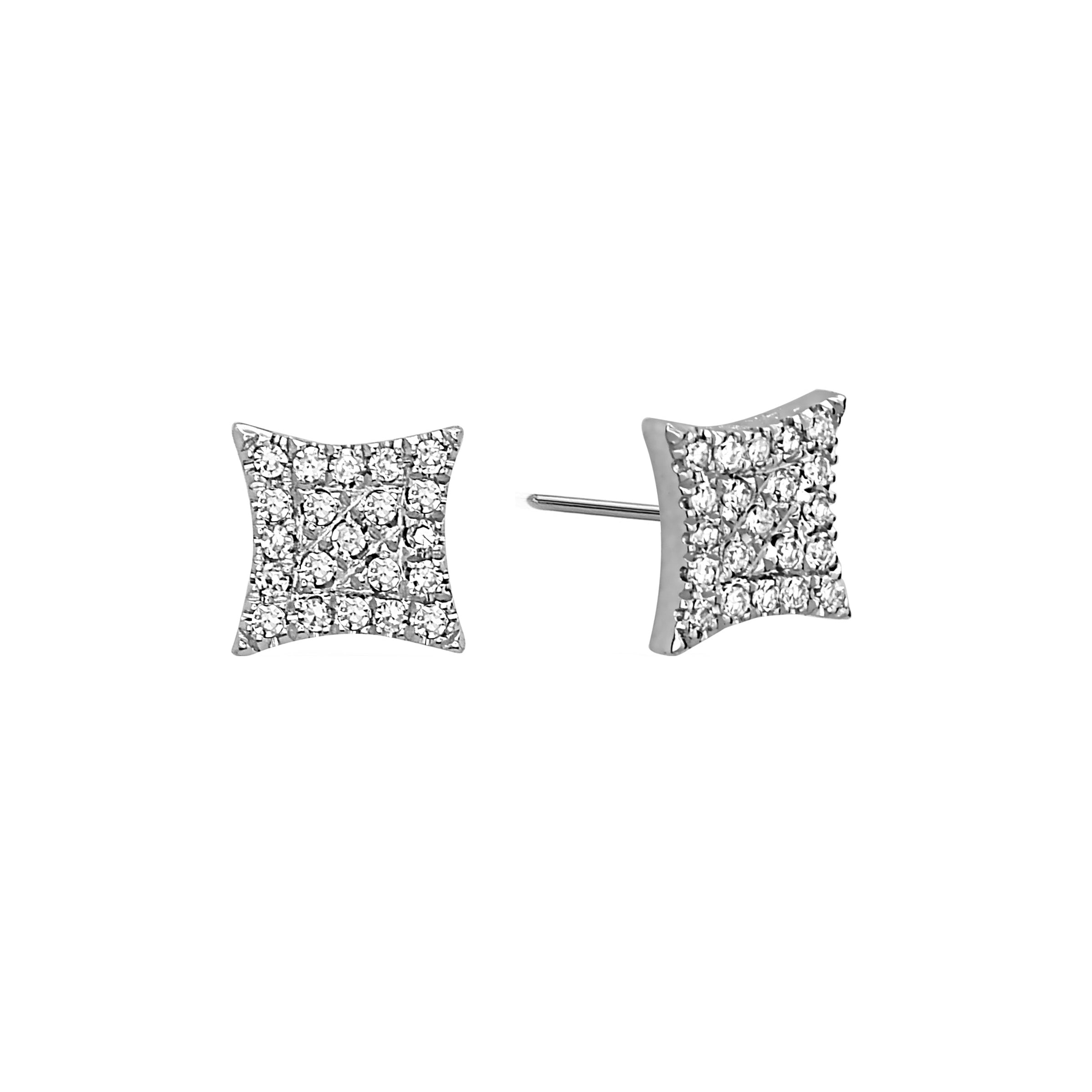Diamond Shaped Pavé Diamond Earrings, 14K White Gold